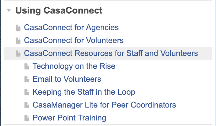 CasaConnect Resources for Staff and Volunteers